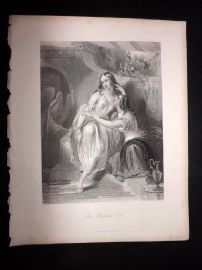 After Brown 1846 Antique Pretty Lady Print. The Favoured One